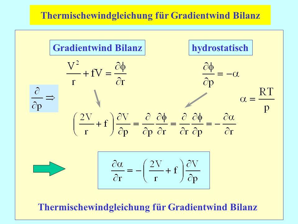 Gradientwind Bilanzhydrostatisch Thermischewindgleichung für Gradientwind Bilanz