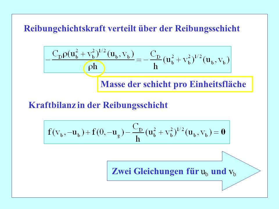 Reibungchichtskraft verteilt über der Reibungsschicht Kraftbilanz in der Reibungsschicht Zwei Gleichungen für u b und v b Masse der schicht pro Einhei