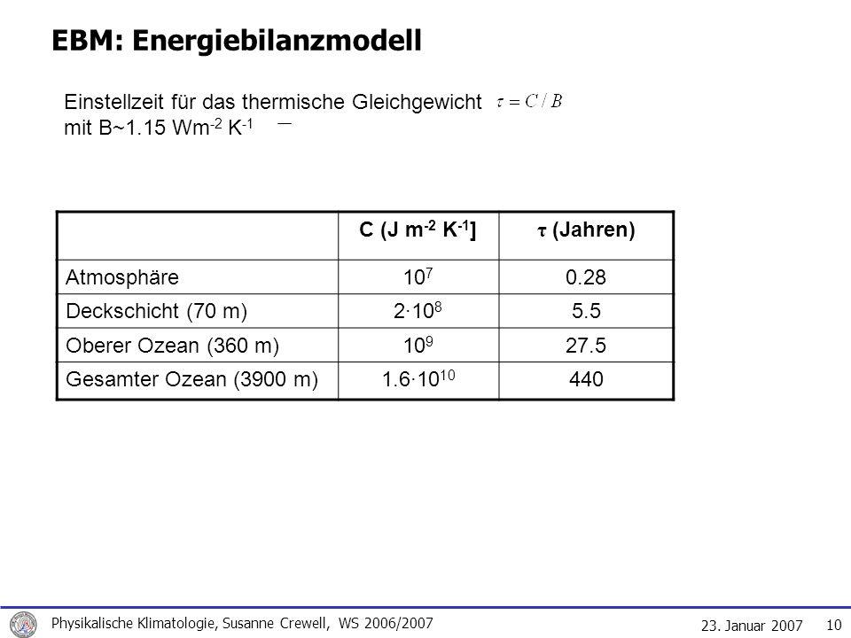 23. Januar 2007 Physikalische Klimatologie, Susanne Crewell, WS 2006/2007 10 EBM: Energiebilanzmodell Einstellzeit für das thermische Gleichgewicht mi