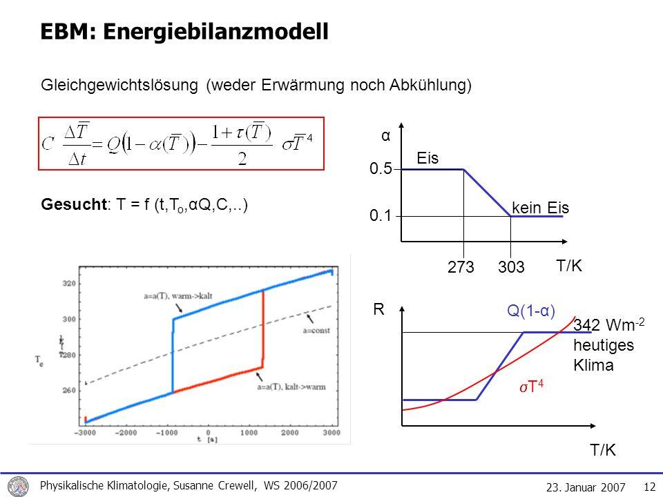 23. Januar 2007 Physikalische Klimatologie, Susanne Crewell, WS 2006/2007 12 kein Eis EBM: Energiebilanzmodell Gleichgewichtslösung (weder Erwärmung n