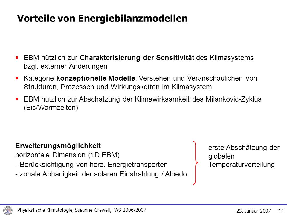 23. Januar 2007 Physikalische Klimatologie, Susanne Crewell, WS 2006/2007 14 Vorteile von Energiebilanzmodellen EBM nützlich zur Charakterisierung der
