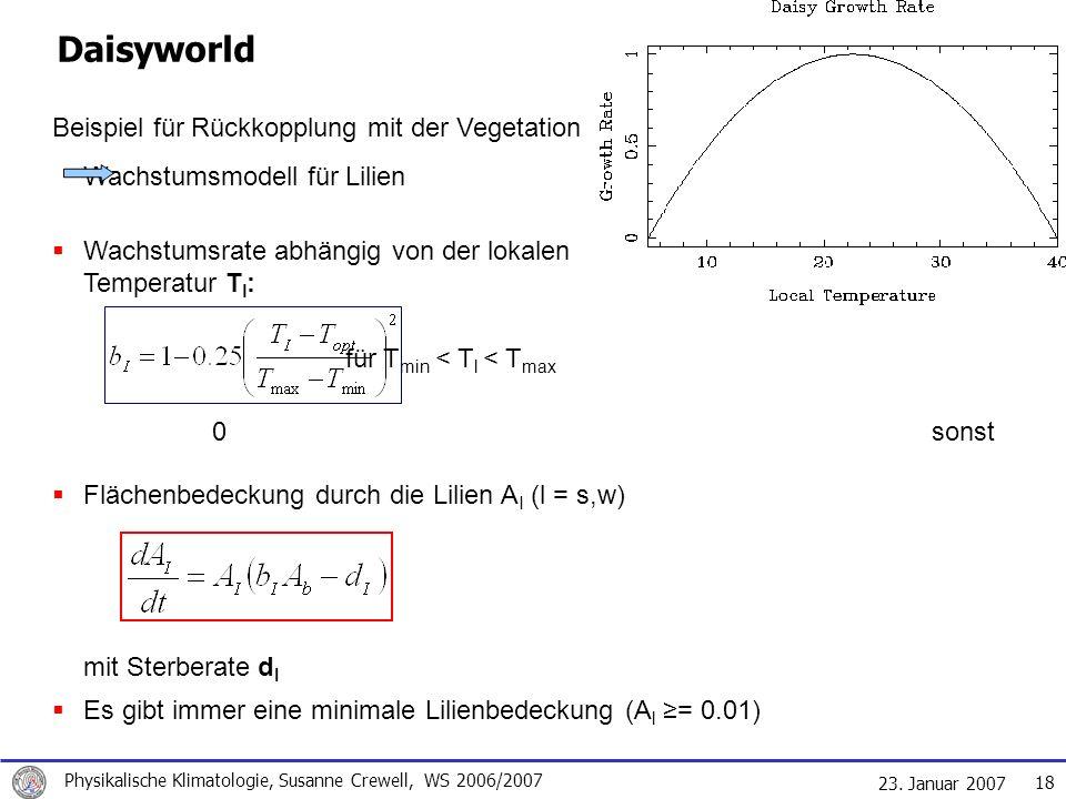 23. Januar 2007 Physikalische Klimatologie, Susanne Crewell, WS 2006/2007 18 Daisyworld Beispiel für Rückkopplung mit der Vegetation Wachstumsmodell f