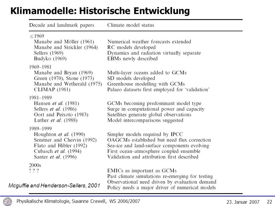 23. Januar 2007 Physikalische Klimatologie, Susanne Crewell, WS 2006/2007 22 Klimamodelle: Historische Entwicklung Mcguffie and Henderson-Sellers, 200