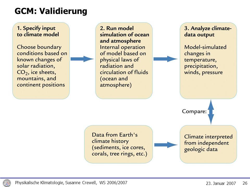 23. Januar 2007 Physikalische Klimatologie, Susanne Crewell, WS 2006/2007 26 GCM: Validierung