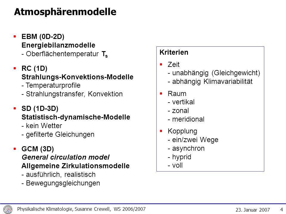 23. Januar 2007 Physikalische Klimatologie, Susanne Crewell, WS 2006/2007 4 Atmosphärenmodelle EBM (0D-2D) Energiebilanzmodelle - Oberflächentemperatu