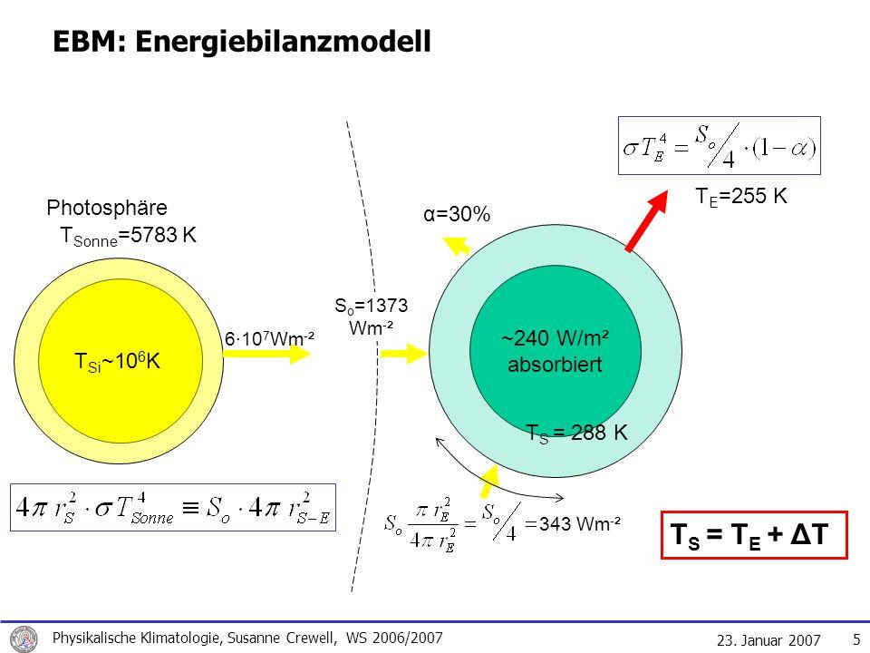 23. Januar 2007 Physikalische Klimatologie, Susanne Crewell, WS 2006/2007 5 EBM: Energiebilanzmodell T Si ~10 6 K Photosphäre 6·10 7 Wm - ² 1373 W/m²