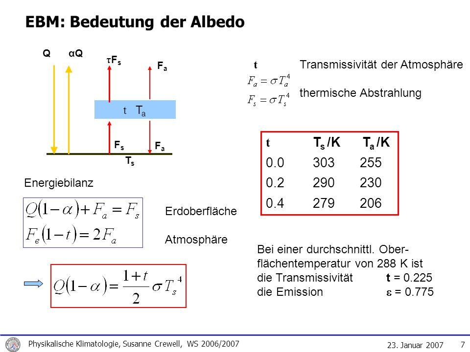 23. Januar 2007 Physikalische Klimatologie, Susanne Crewell, WS 2006/2007 7 Energiebilanz Erdoberfläche Atmosphäre EBM: Bedeutung der Albedo Q αQ t T
