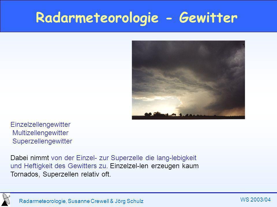 Radarmeteorologie, Susanne Crewell & Jörg Schulz WS 2003/04 Radarmeteorologie - Gewitter Einzelzellengewitter Multizellengewitter Superzellengewitter Dabei nimmt von der Einzel- zur Superzelle die lang-lebigkeit und Heftigkeit des Gewitters zu.