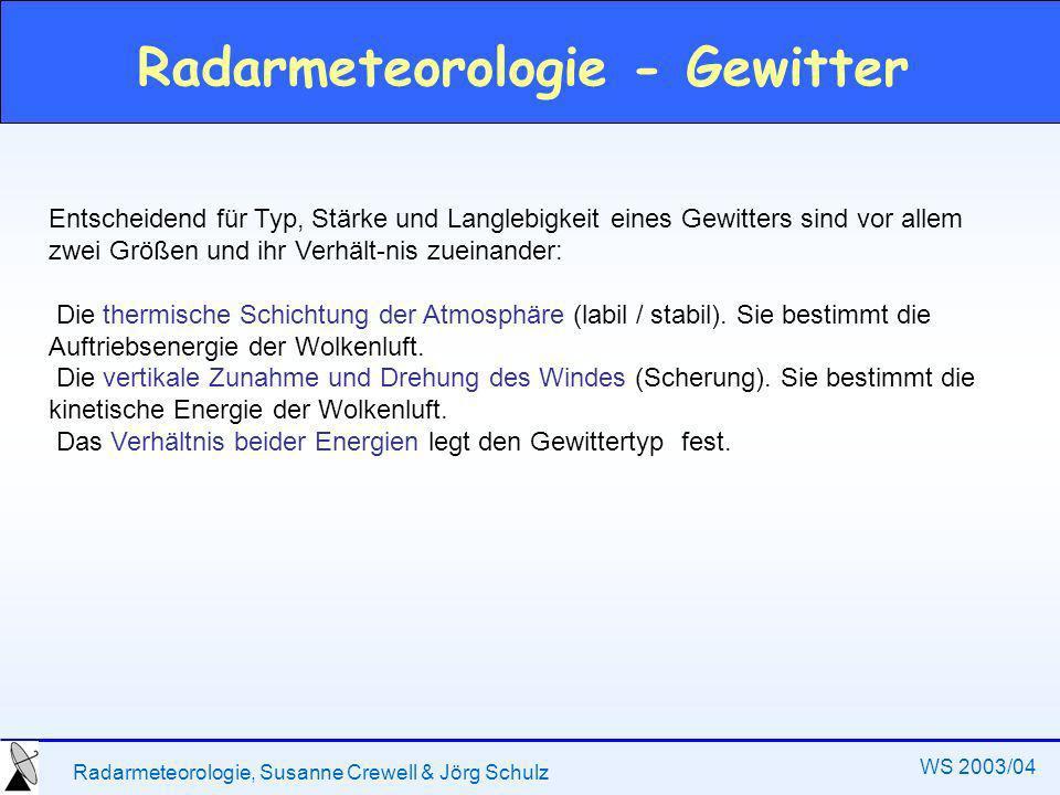 Radarmeteorologie, Susanne Crewell & Jörg Schulz WS 2003/04 Radarmeteorologie - Gewitter Entscheidend für Typ, Stärke und Langlebigkeit eines Gewitters sind vor allem zwei Größen und ihr Verhält-nis zueinander: Die thermische Schichtung der Atmosphäre (labil / stabil).