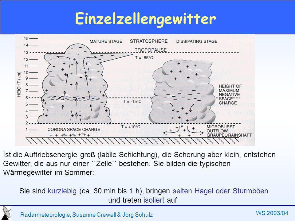 Radarmeteorologie, Susanne Crewell & Jörg Schulz WS 2003/04 Einzelzellengewitter Ist die Auftriebsenergie groß (labile Schichtung), die Scherung aber klein, entstehen Gewitter, die aus nur einer ``Zelle´´ bestehen.