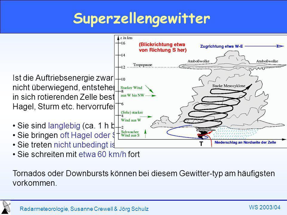 Radarmeteorologie, Susanne Crewell & Jörg Schulz WS 2003/04 Superzellengewitter Ist die Auftriebsenergie zwar groß (labile Schichtung), die Scherung aber nicht überwiegend, entstehen Ge-witter, die aus einer, langanhaltenden und in sich rotierenden Zelle bestehen.