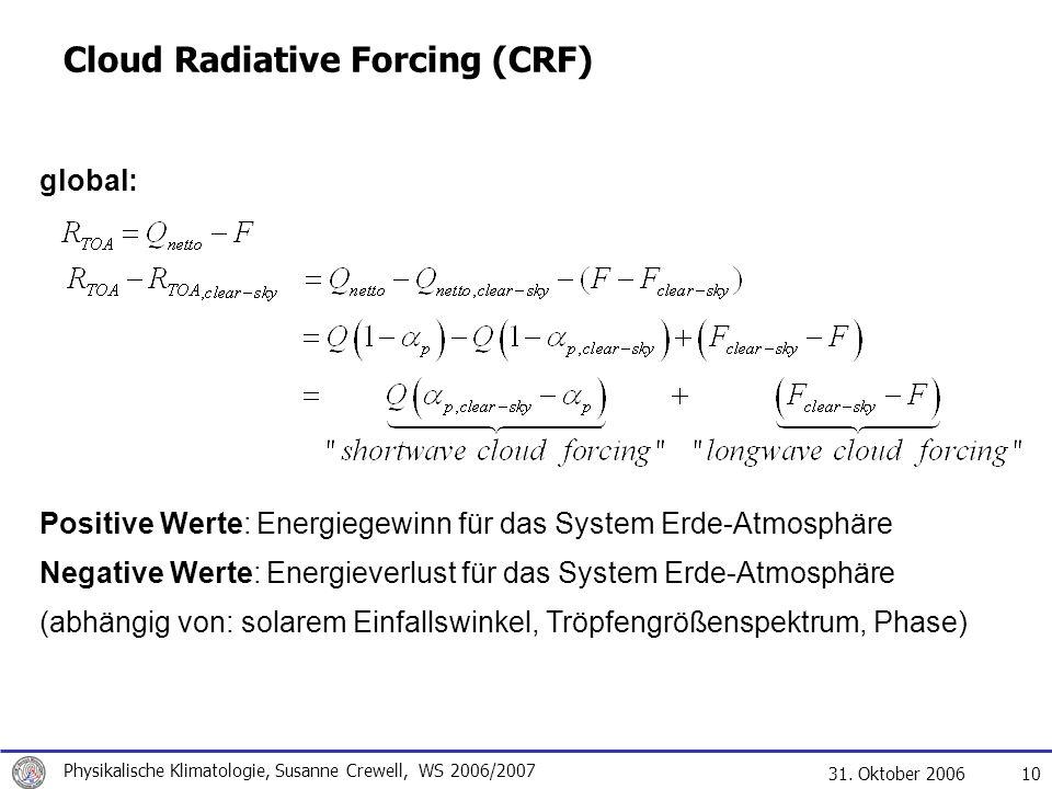 31. Oktober 2006 Physikalische Klimatologie, Susanne Crewell, WS 2006/2007 10 Cloud Radiative Forcing (CRF) global: Positive Werte: Energiegewinn für