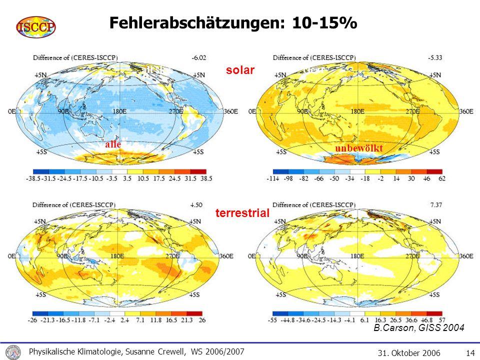 31. Oktober 2006 Physikalische Klimatologie, Susanne Crewell, WS 2006/2007 14 Fehlerabschätzungen: 10-15% clearall sky solar terrestrial B.Carson, GIS