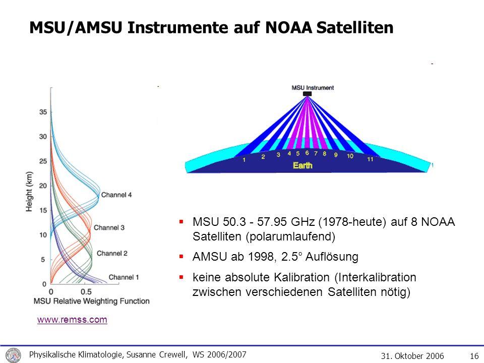 31. Oktober 2006 Physikalische Klimatologie, Susanne Crewell, WS 2006/2007 16 MSU/AMSU Instrumente auf NOAA Satelliten MSU 50.3 - 57.95 GHz (1978-heut