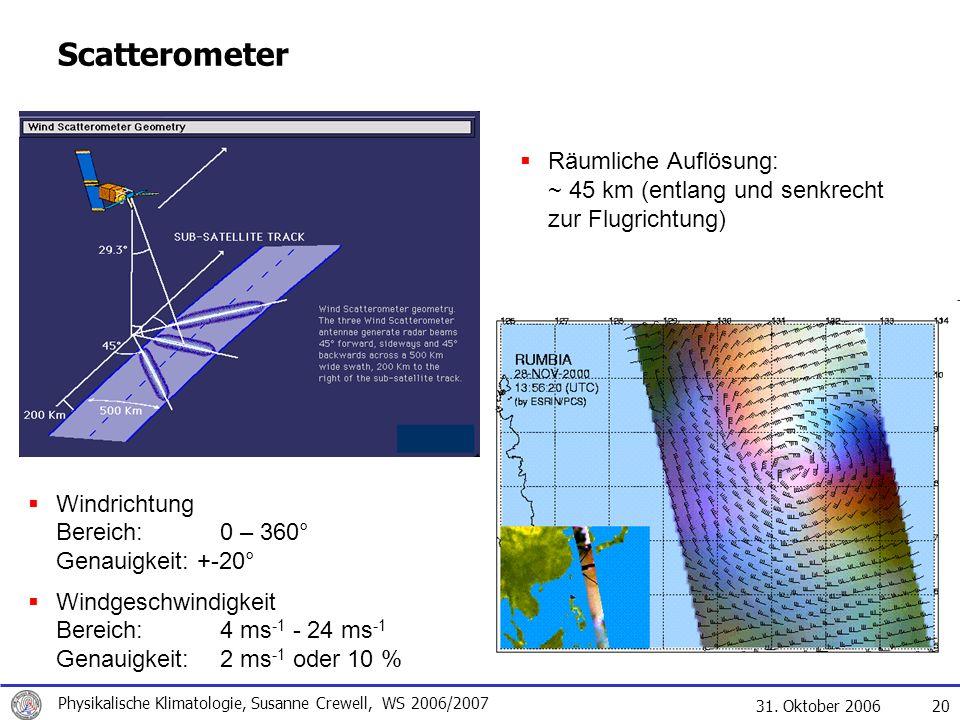 31. Oktober 2006 Physikalische Klimatologie, Susanne Crewell, WS 2006/2007 20 Scatterometer Räumliche Auflösung: ~ 45 km (entlang und senkrecht zur Fl