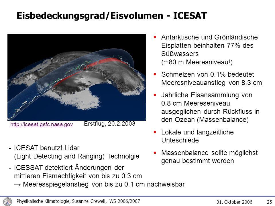 31. Oktober 2006 Physikalische Klimatologie, Susanne Crewell, WS 2006/2007 25 Eisbedeckungsgrad/Eisvolumen - ICESAT Antarktische und Grönländische Eis