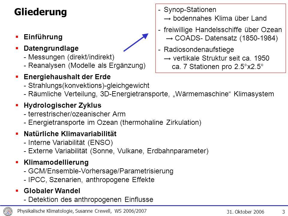 31. Oktober 2006 Physikalische Klimatologie, Susanne Crewell, WS 2006/2007 3 Gliederung Einführung Datengrundlage - Messungen (direkt/indirekt) - Rean