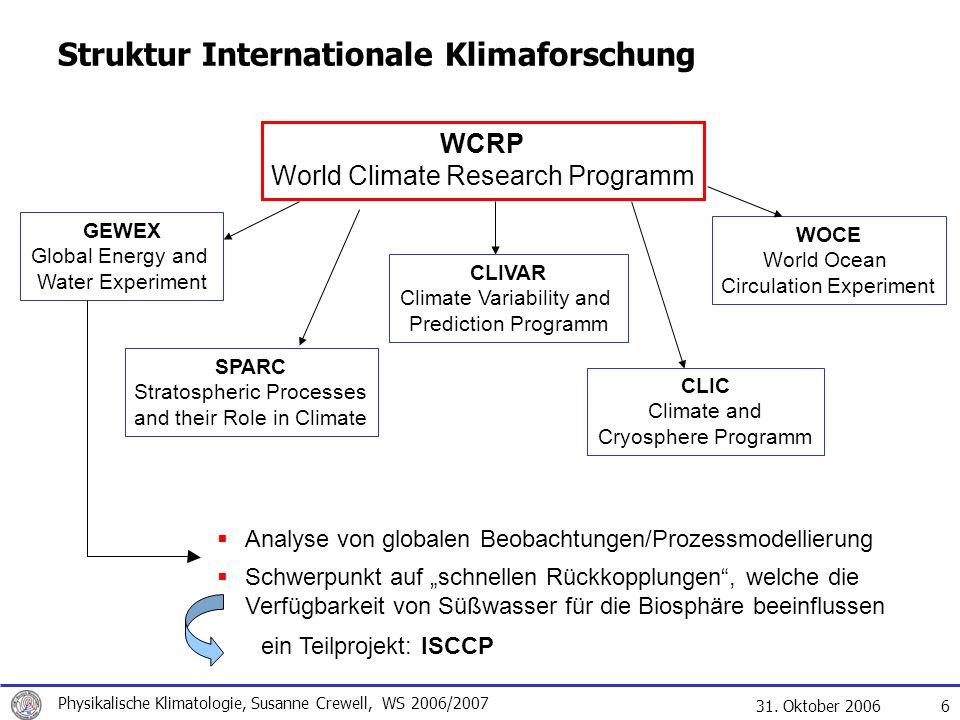 31. Oktober 2006 Physikalische Klimatologie, Susanne Crewell, WS 2006/2007 6 Struktur Internationale Klimaforschung WCRP World Climate Research Progra