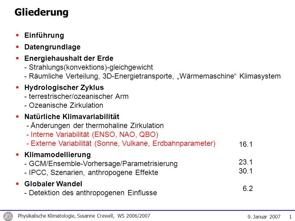 9. Januar 2007 Physikalische Klimatologie, Susanne Crewell, WS 2006/2007 1 Gliederung Einführung Datengrundlage Energiehaushalt der Erde - Strahlungs(