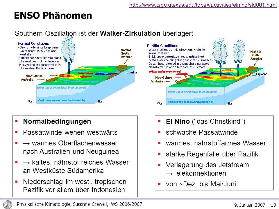 9. Januar 2007 Physikalische Klimatologie, Susanne Crewell, WS 2006/2007 10 ENSO Phänomen El Nino (