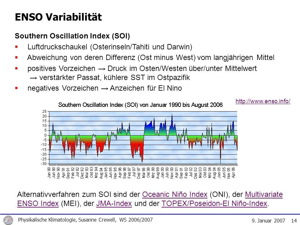 9. Januar 2007 Physikalische Klimatologie, Susanne Crewell, WS 2006/2007 14 ENSO Variabilität Southern Oscillation Index (SOI) Luftdruckschaukel (Oste