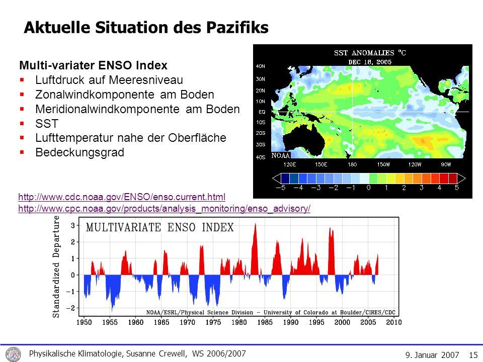 9. Januar 2007 Physikalische Klimatologie, Susanne Crewell, WS 2006/2007 15 Aktuelle Situation des Pazifiks http://www.cdc.noaa.gov/ENSO/enso.current.
