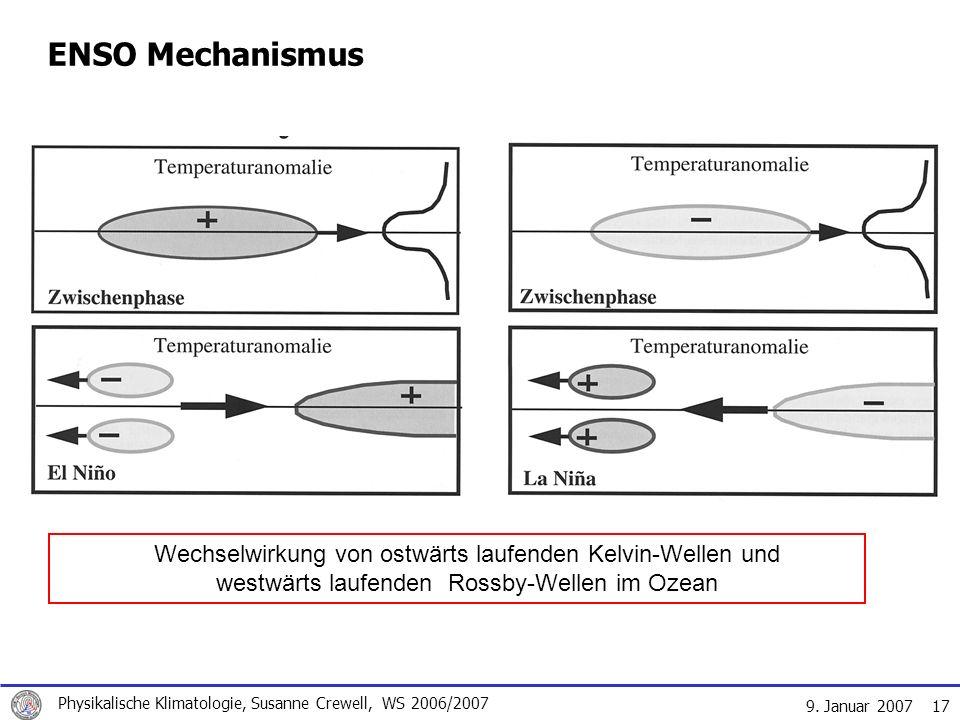 9. Januar 2007 Physikalische Klimatologie, Susanne Crewell, WS 2006/2007 17 ENSO Mechanismus Wechselwirkung von ostwärts laufenden Kelvin-Wellen und w
