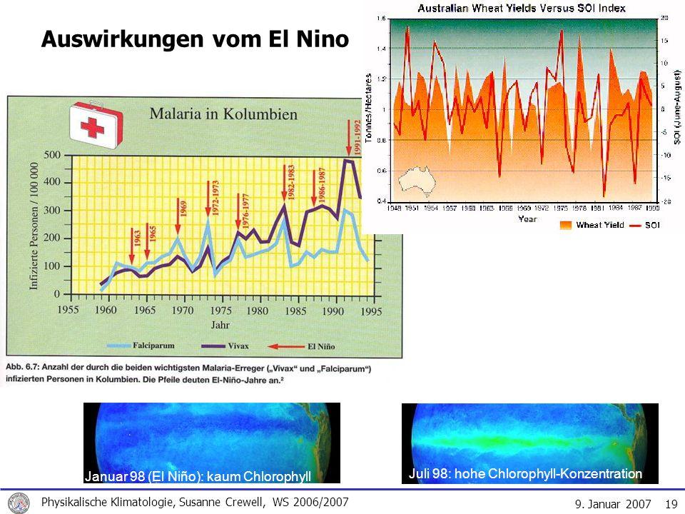 9. Januar 2007 Physikalische Klimatologie, Susanne Crewell, WS 2006/2007 19 Auswirkungen vom El Nino Januar 98 (El Niño): kaum Chlorophyll Juli 98: ho