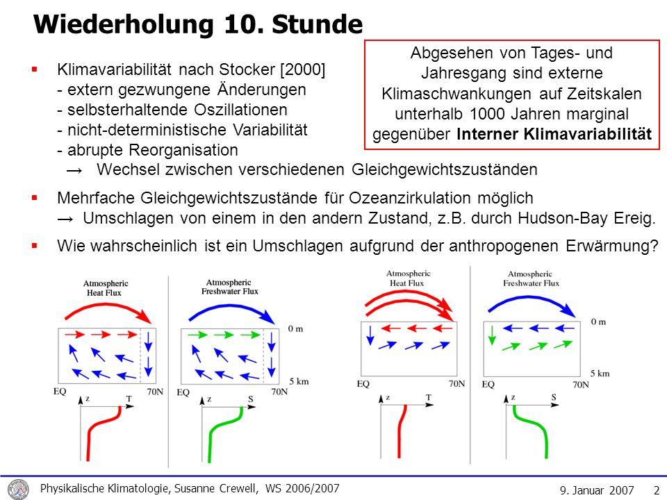 9. Januar 2007 Physikalische Klimatologie, Susanne Crewell, WS 2006/2007 2 Klimavariabilität nach Stocker [2000] - extern gezwungene Änderungen - selb
