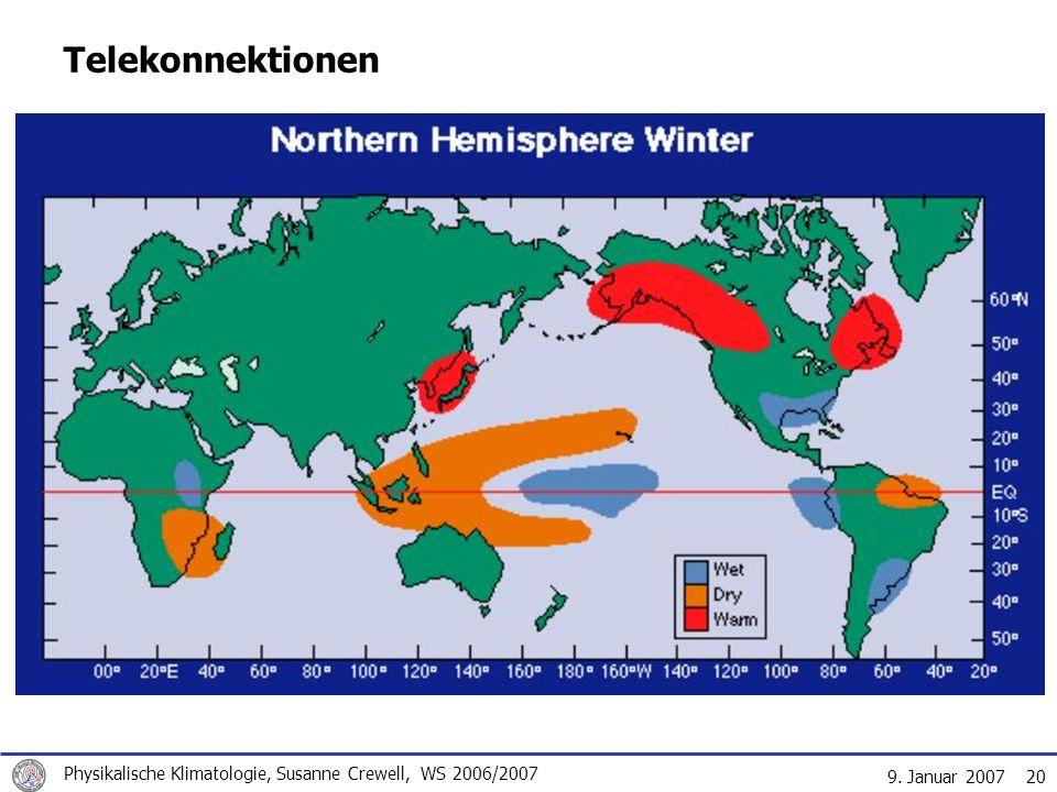 9. Januar 2007 Physikalische Klimatologie, Susanne Crewell, WS 2006/2007 20 Telekonnektionen