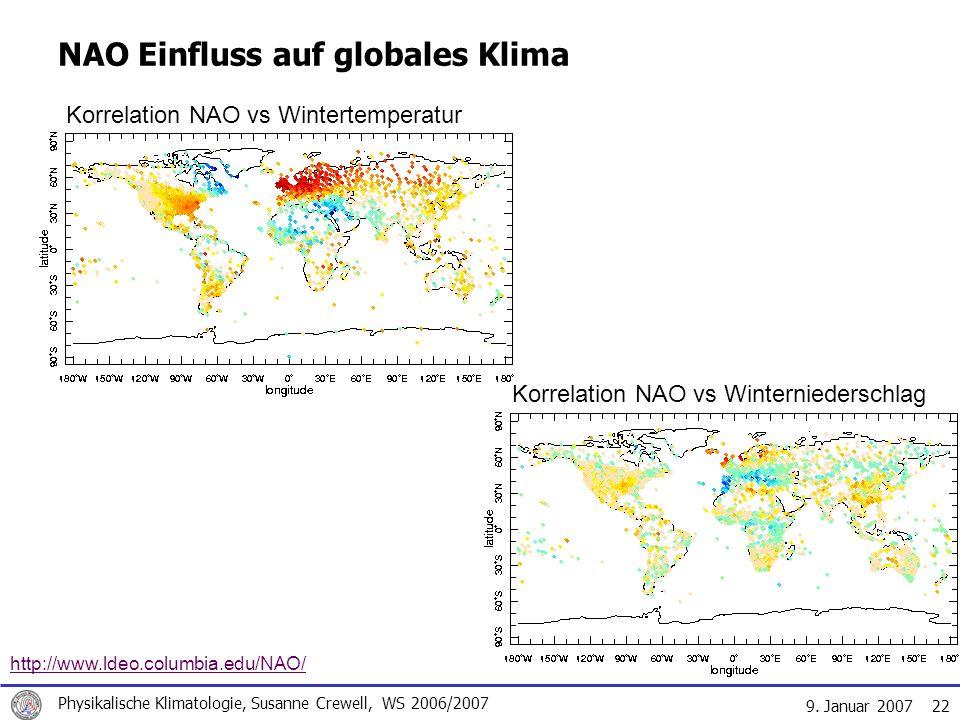 9. Januar 2007 Physikalische Klimatologie, Susanne Crewell, WS 2006/2007 22 NAO Einfluss auf globales Klima http://www.ldeo.columbia.edu/NAO/ Korrelat