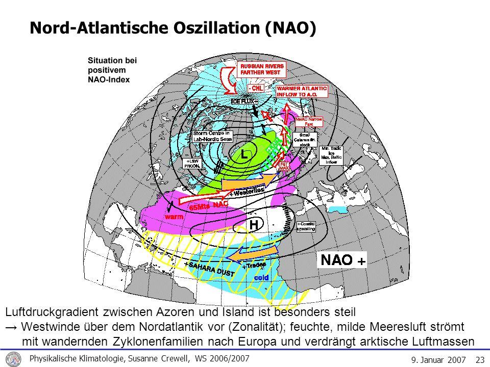 9. Januar 2007 Physikalische Klimatologie, Susanne Crewell, WS 2006/2007 23 Nord-Atlantische Oszillation (NAO) Luftdruckgradient zwischen Azoren und I