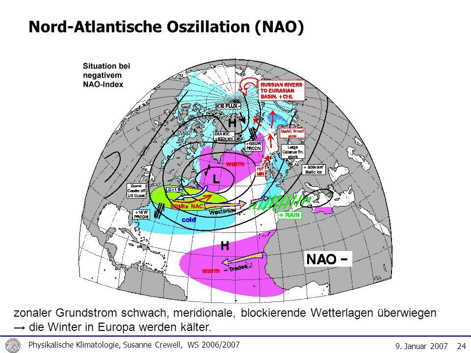 9. Januar 2007 Physikalische Klimatologie, Susanne Crewell, WS 2006/2007 24 Nord-Atlantische Oszillation (NAO) zonaler Grundstrom schwach, meridionale