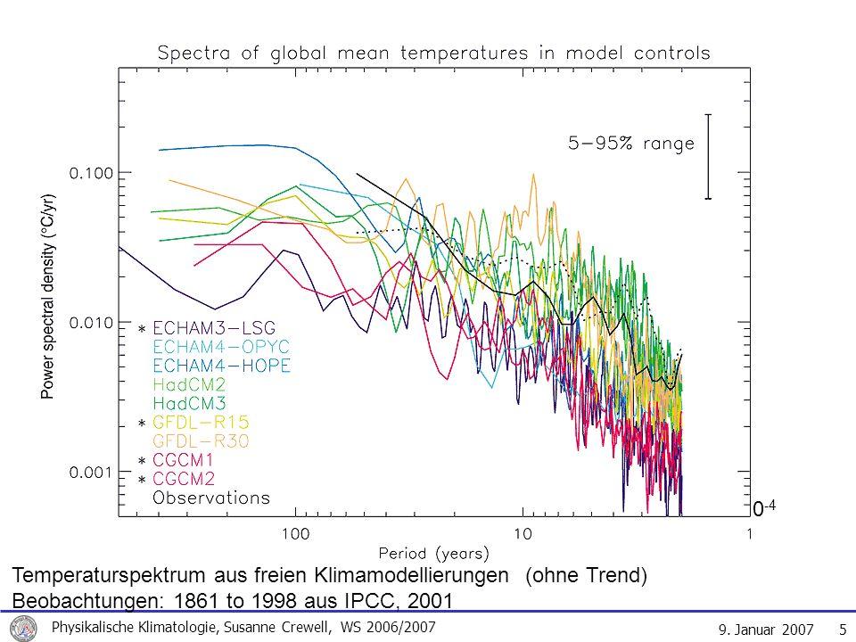 9. Januar 2007 Physikalische Klimatologie, Susanne Crewell, WS 2006/2007 5 10 10 Periode in Jahren 10 -4 Temperaturspektrum aus freien Klimamodellieru