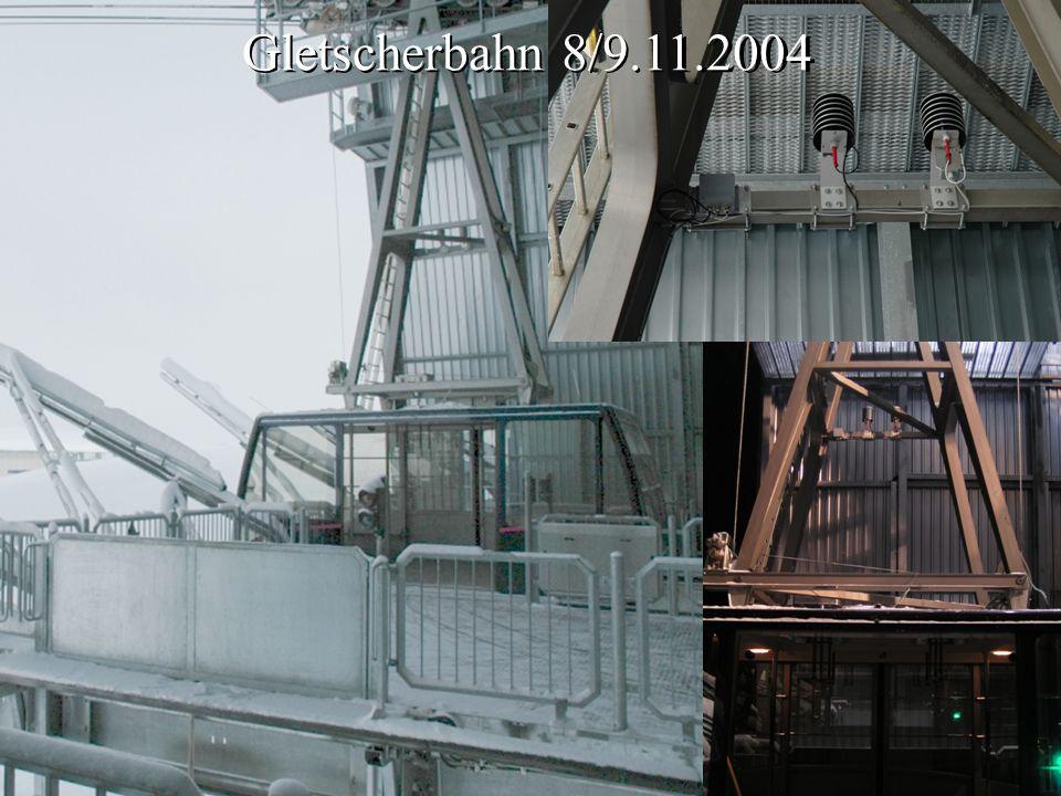 Kiste mit Logger, Akku, Ladeelektronik Ansteuerelektronik Vaisala Hütte mit Vaisala-Feuchtesensor Hütte mit Temperatursensoren Gletscherbahn 8/9.11.20