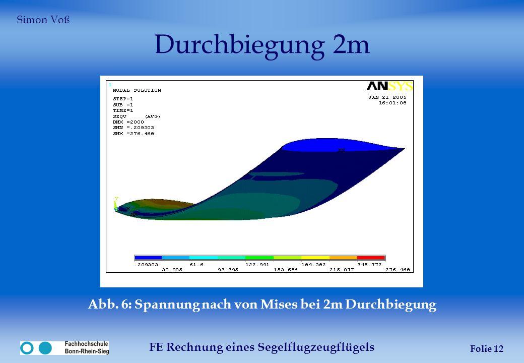 FE Rechnung eines Segelflugzeugflügels Folie 12 Durchbiegung 2m Abb. 6: Spannung nach von Mises bei 2m Durchbiegung Simon Voß