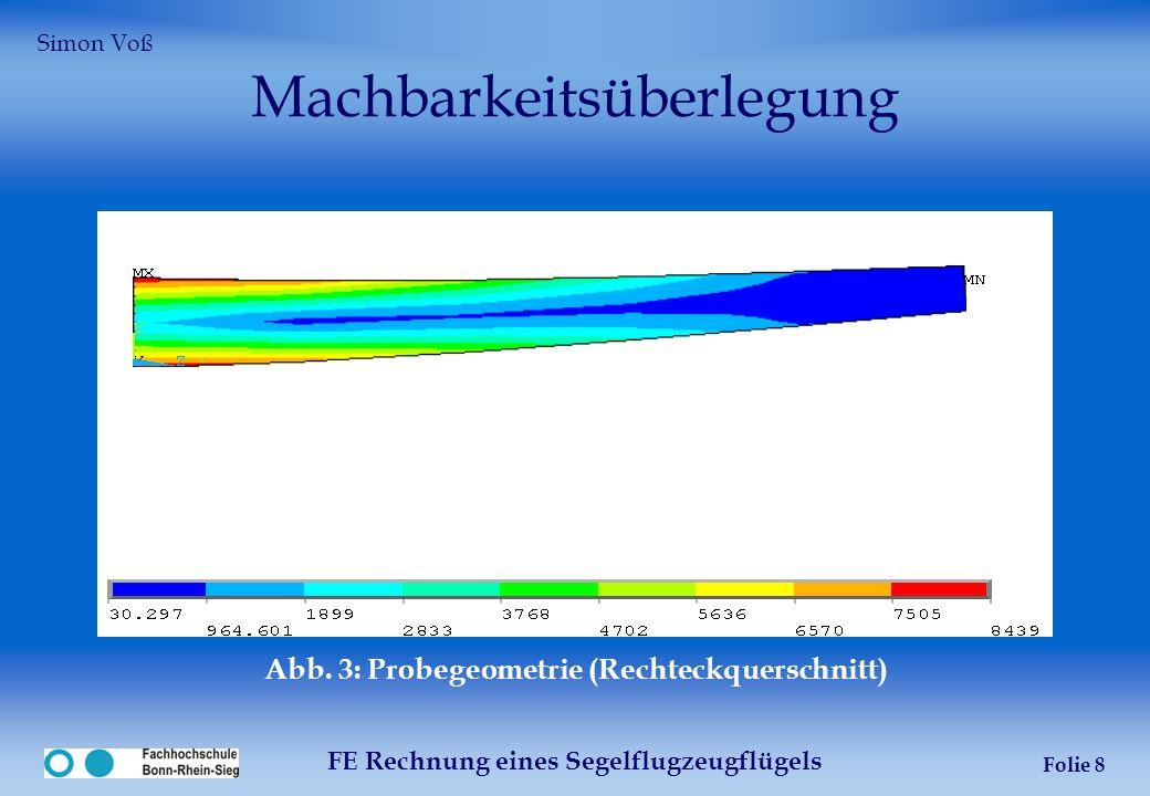 FE Rechnung eines Segelflugzeugflügels Folie 8 Machbarkeitsüberlegung Abb. 3: Probegeometrie (Rechteckquerschnitt) Simon Voß