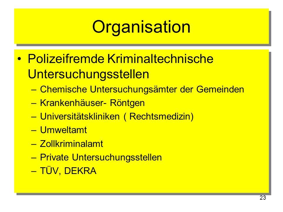 23 Organisation Polizeifremde Kriminaltechnische Untersuchungsstellen –Chemische Untersuchungsämter der Gemeinden –Krankenhäuser- Röntgen –Universität