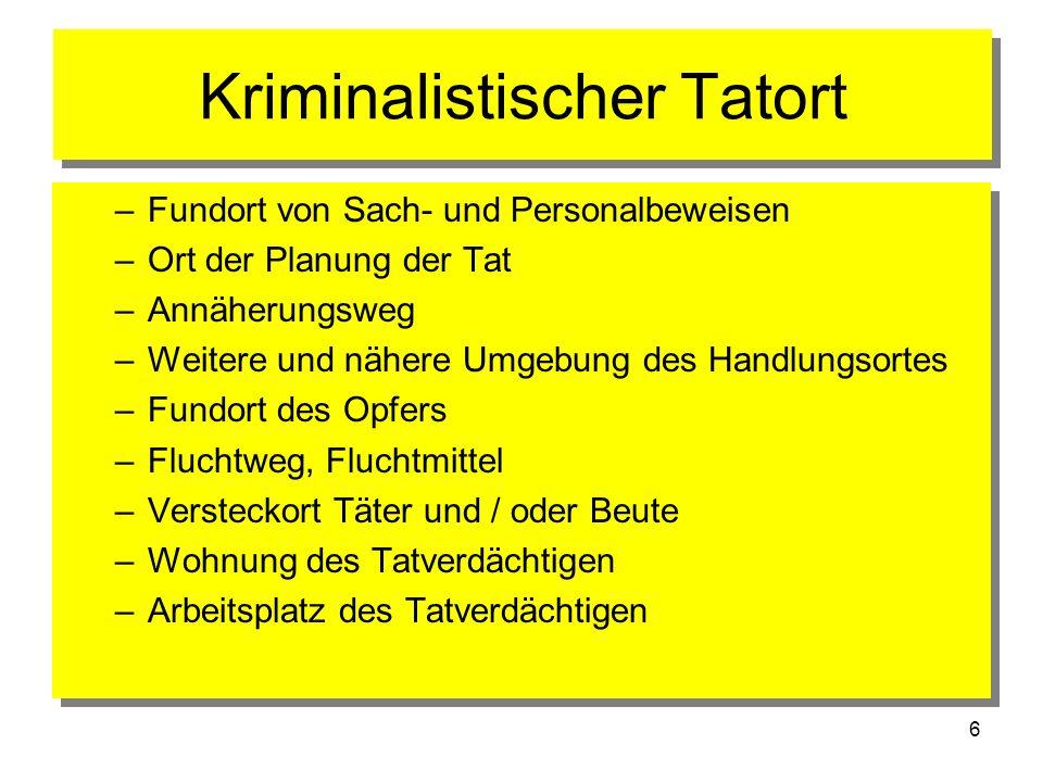6 Kriminalistischer Tatort –Fundort von Sach- und Personalbeweisen –Ort der Planung der Tat –Annäherungsweg –Weitere und nähere Umgebung des Handlungs