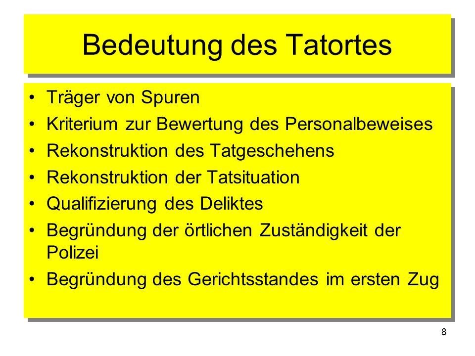 8 Bedeutung des Tatortes Träger von Spuren Kriterium zur Bewertung des Personalbeweises Rekonstruktion des Tatgeschehens Rekonstruktion der Tatsituati