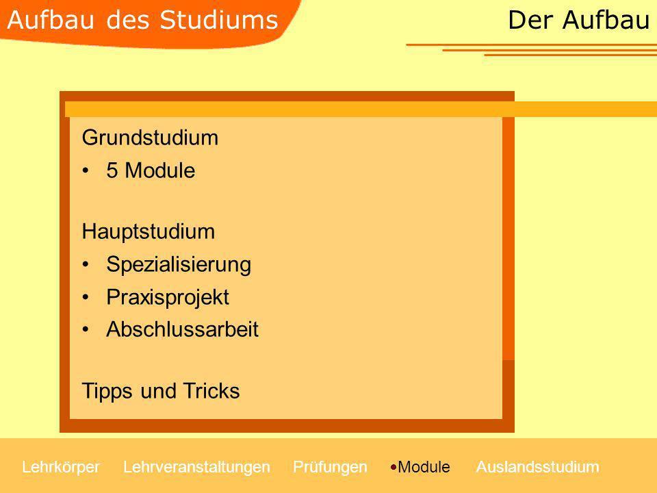 Der Aufbau LehrkörperLehrveranstaltungenModulePrüfungenAuslandsstudium Grundstudium 5 Module Hauptstudium Spezialisierung Praxisprojekt Abschlussarbei
