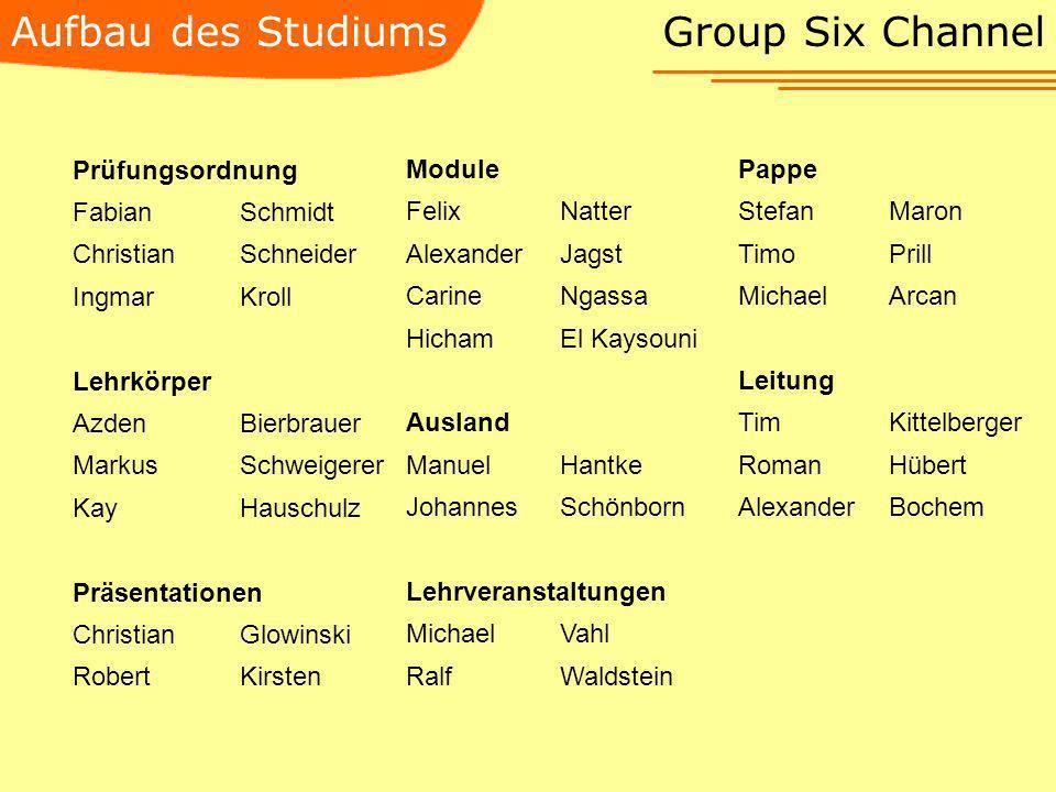 Aufbau des Studiums Group Six Channel Prüfungsordnung FabianSchmidt ChristianSchneider IngmarKroll Lehrkörper AzdenBierbrauer MarkusSchweigerer KayHau