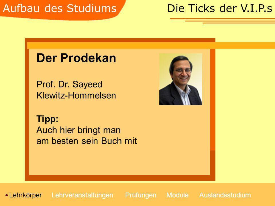 Die Ticks der V.I.P.s LehrkörperLehrveranstaltungenModulePrüfungenAuslandsstudium Aufbau des Studiums Der Prodekan Prof. Dr. Sayeed Klewitz-Hommelsen
