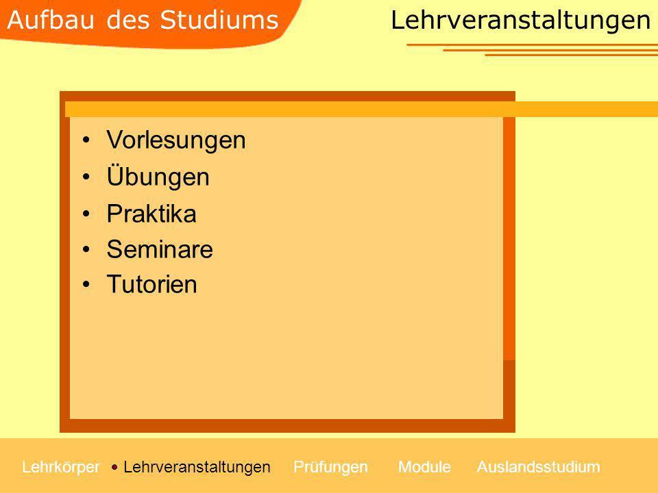 Lehrveranstaltungen LehrkörperLehrveranstaltungenModulePrüfungenAuslandsstudium Vorlesungen Übungen Praktika Seminare Tutorien Aufbau des Studiums