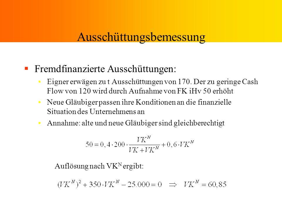 Ausschüttungsbemessung Beispiel a) mit FK 1 =0 Restriktion wird strenger je höher PA, je vorsichtiger die Bewertung