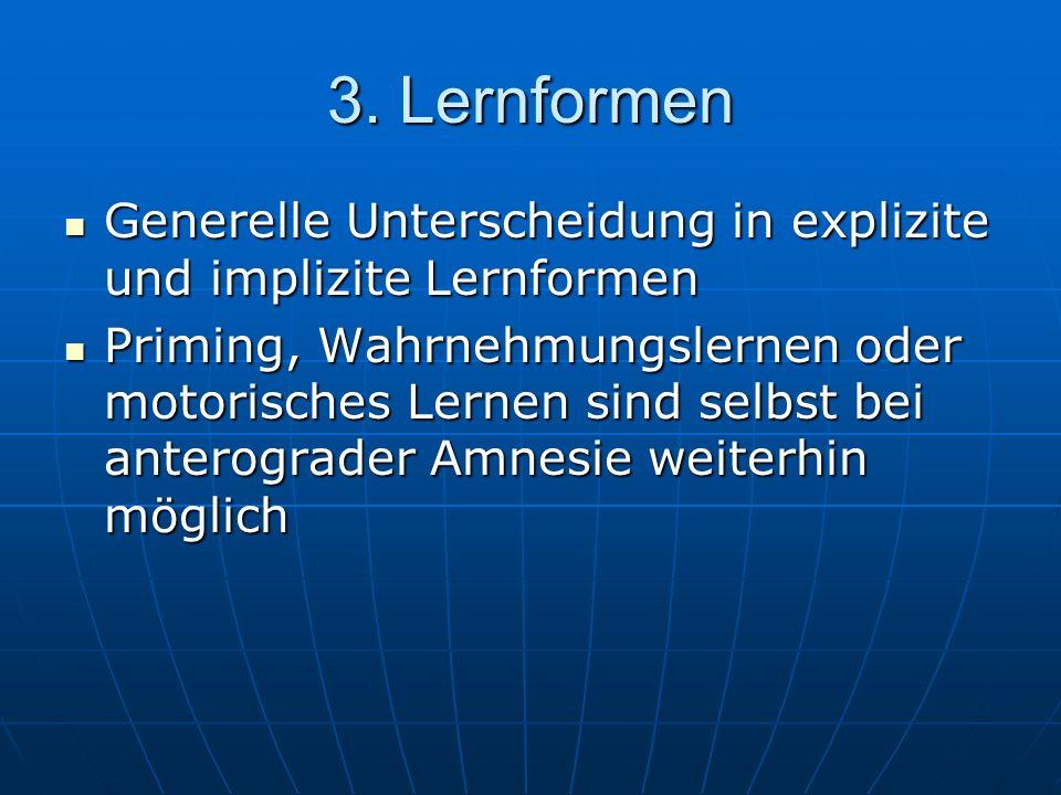 3. Lernformen Generelle Unterscheidung in explizite und implizite Lernformen Generelle Unterscheidung in explizite und implizite Lernformen Priming, W