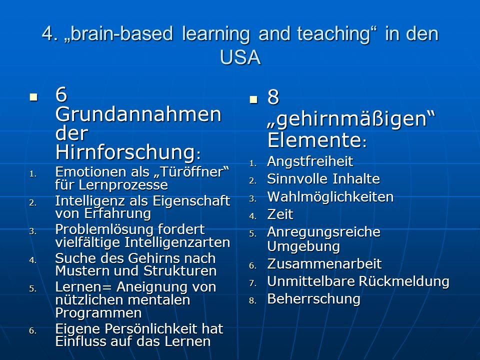 4. brain-based learning and teaching in den USA 6 Grundannahmen der Hirnforschung : 6 Grundannahmen der Hirnforschung : 1. Emotionen als Türöffner für