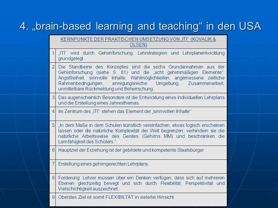4. brain-based learning and teaching in den USA 4. brain-based learning and teaching in den USA KERNPUNKTE DER PRAKTISCHEN UMSETZUNG VON ITI (KOVALIK