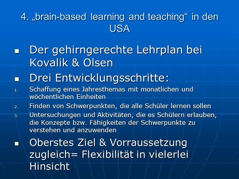 4. brain-based learning and teaching in den USA Der gehirngerechte Lehrplan bei Kovalik & Olsen Der gehirngerechte Lehrplan bei Kovalik & Olsen Drei E