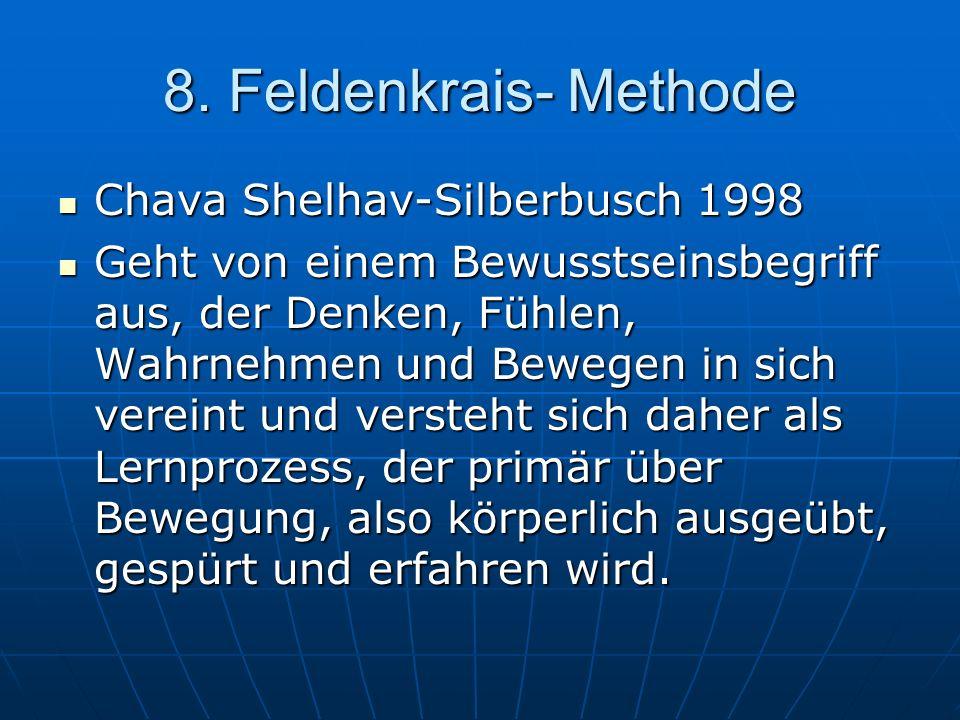 8. Feldenkrais- Methode Chava Shelhav-Silberbusch 1998 Chava Shelhav-Silberbusch 1998 Geht von einem Bewusstseinsbegriff aus, der Denken, Fühlen, Wahr